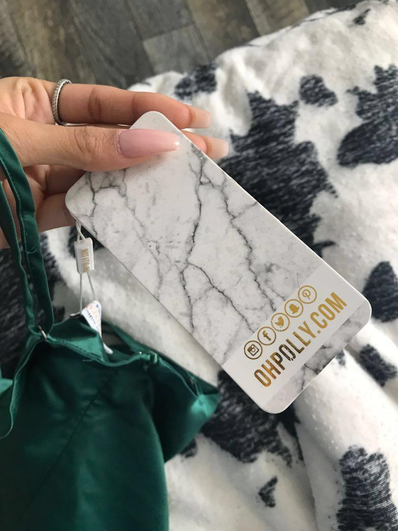 Oh Polly Satin Emerald Mini Dress