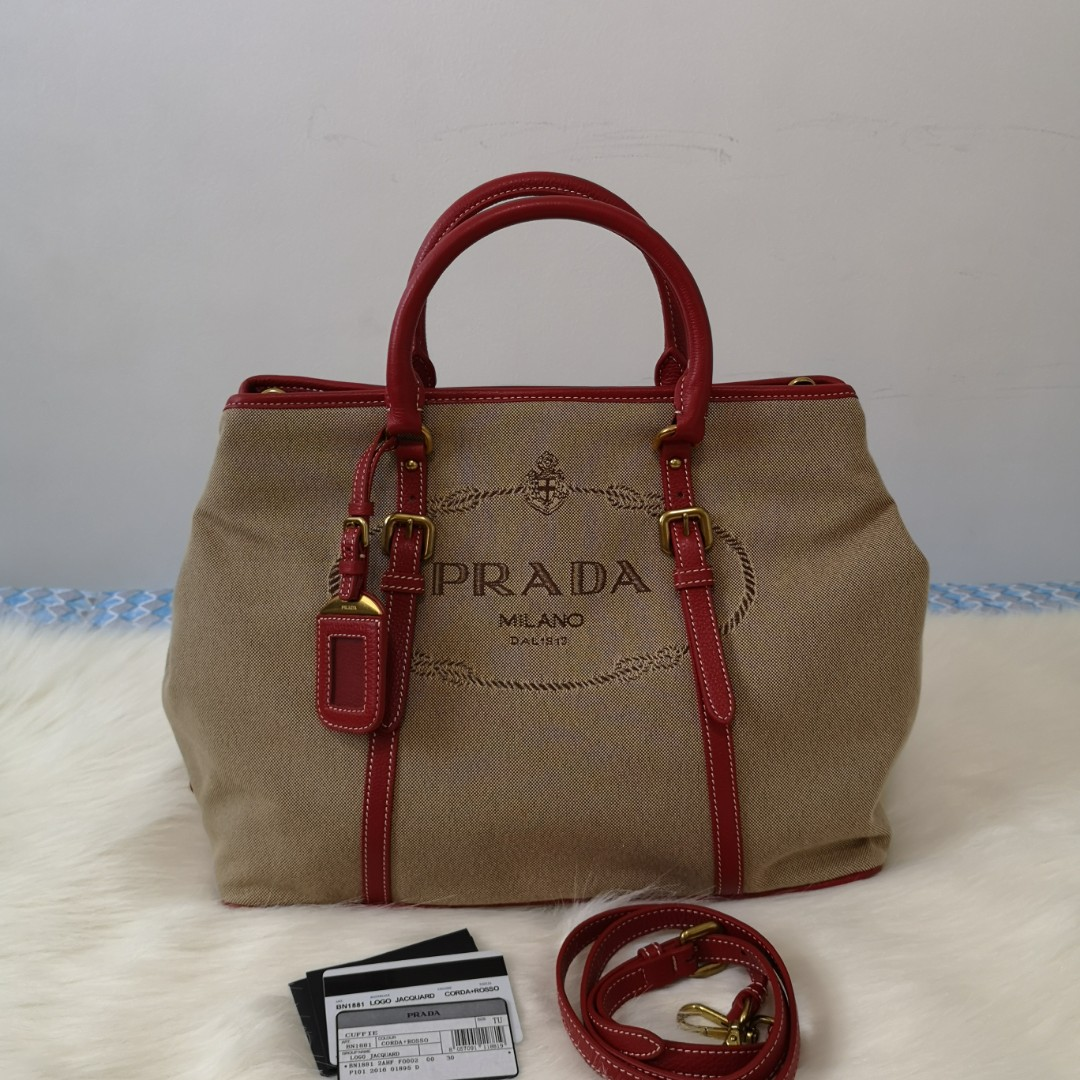 c5ceb766d2be ON HAND: Authentic Prada Bauletto Logo Jacquard Top Handle / Crossbody Bag  BN1881 on Carousell