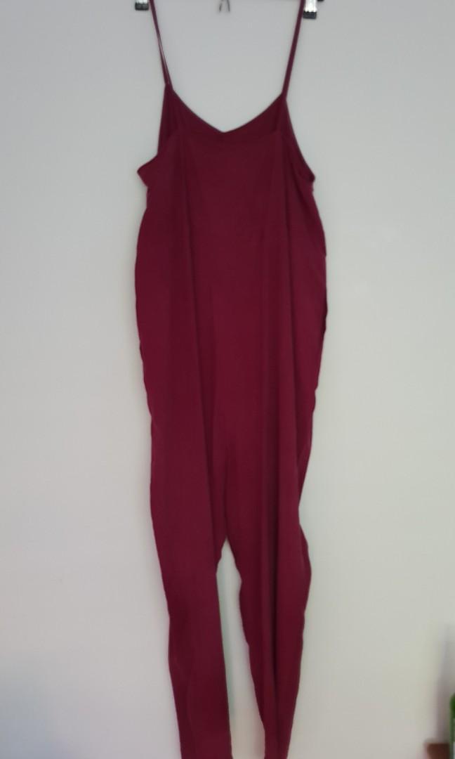 Penny sage deep red jumpsuit