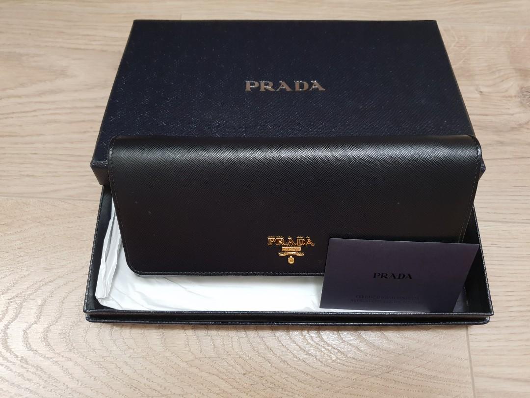 48b10dbcd410 Prada Saffiano wallet on chain