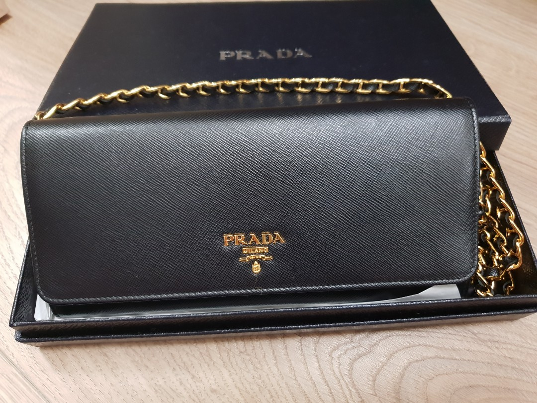 cdefd7c94708 Prada Saffiano wallet on chain