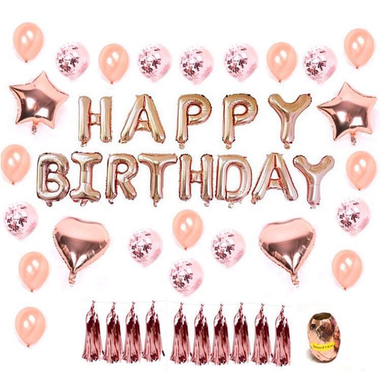 Rose Gold Happy Birthday Balloons Set Design Craft Others On