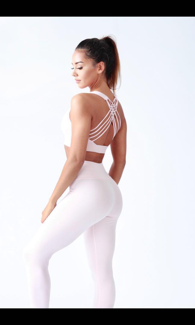 SELLISE UK sports bra and leggings blush pink XS NEW!