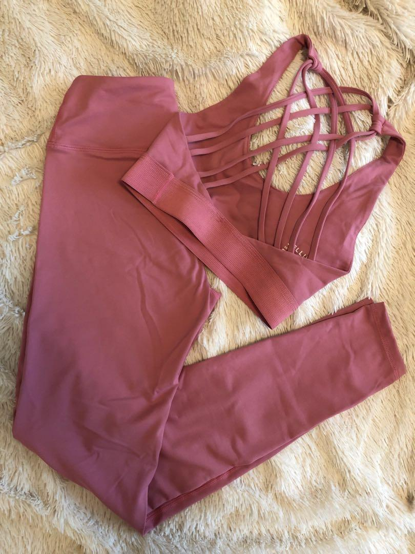SELLISE UK sports bra and leggings rose gold XS new