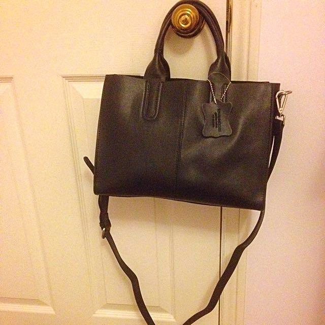 Town Shoes Leather Tote Bag