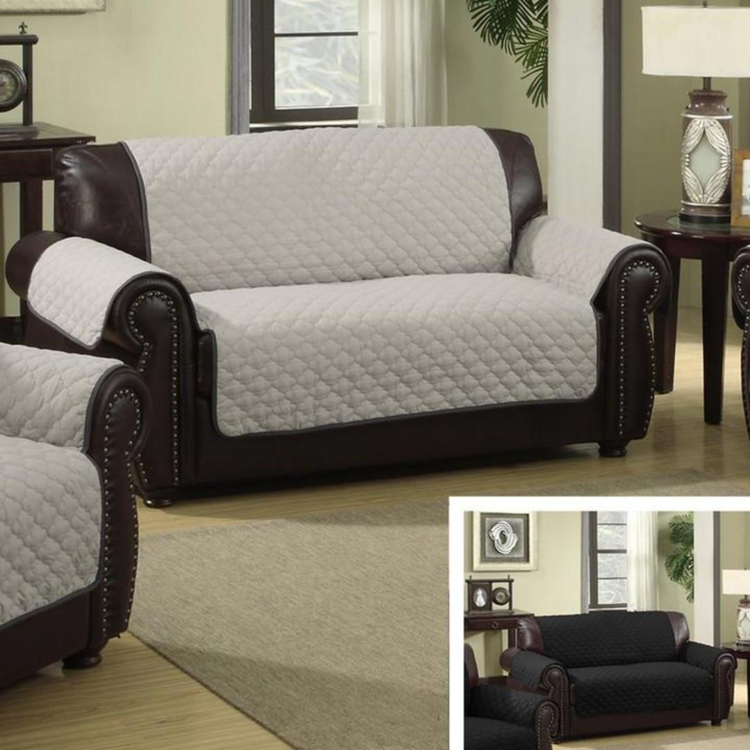 Water-resistant Quilted Reversible Love Seat Cover (Black/Grey)