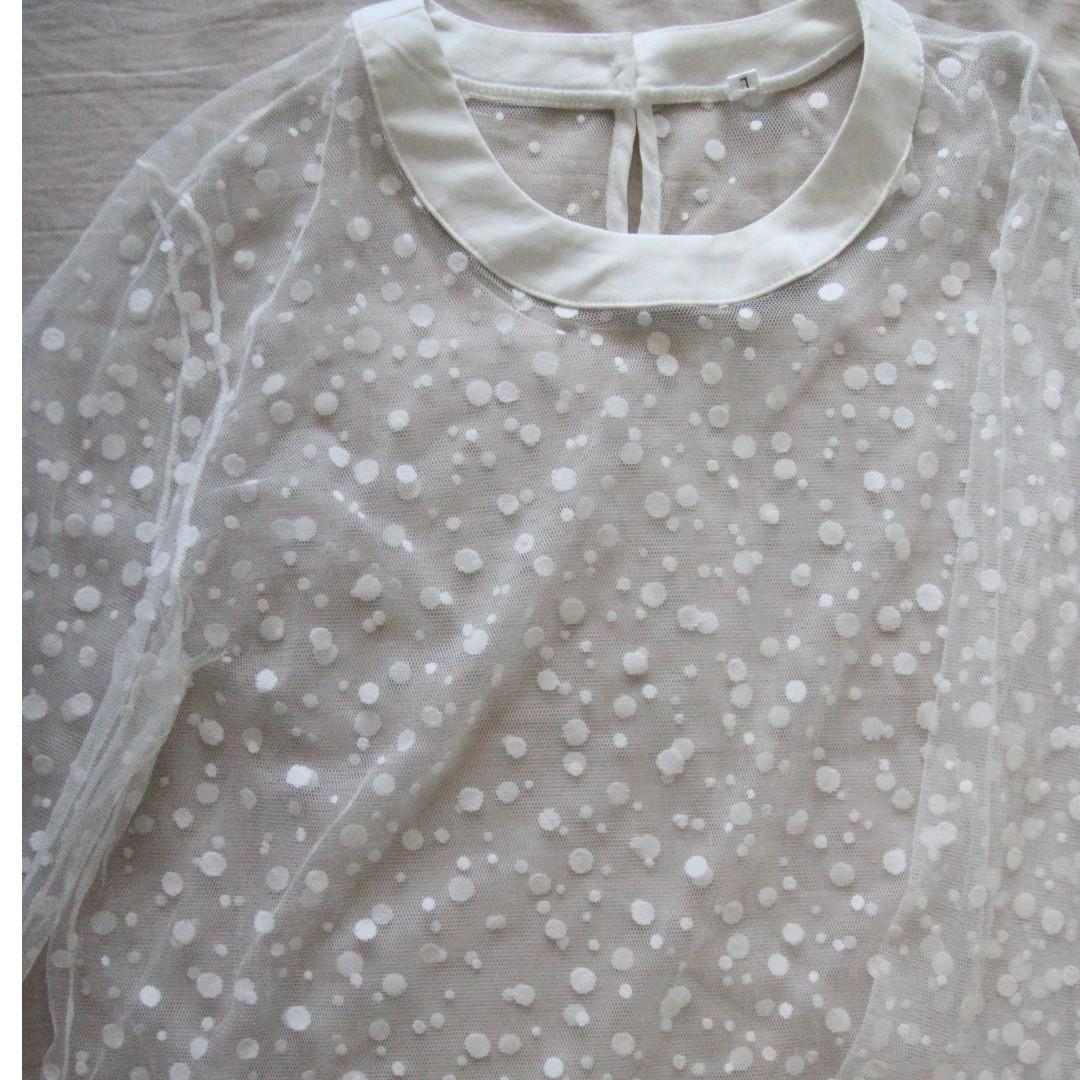 White mesh long-sleeve top