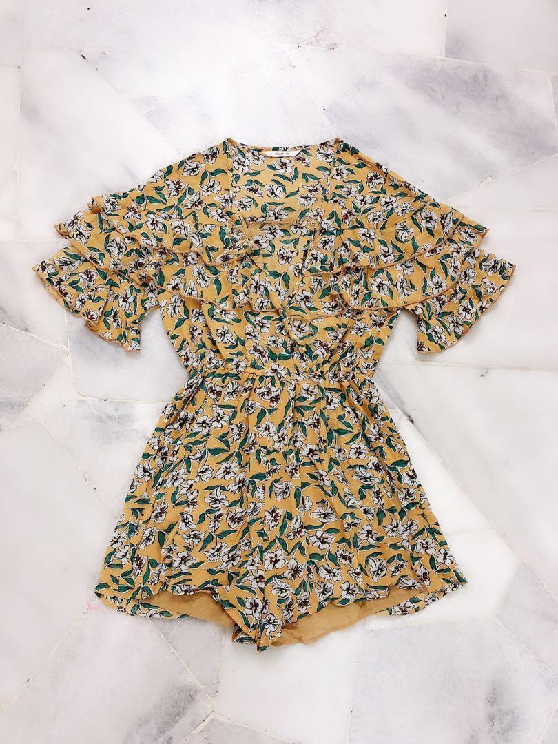 d18922f75200 Yellow Floral Romper   Jumpsuit  RHD80