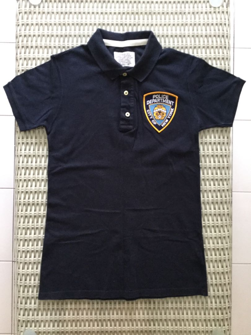 7044db4cf Zara💯% Authentic navy blue polo shirt for SGD$27 w New York Police ...