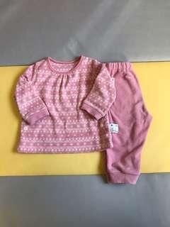 🚚 UNIQLO 刷毛 家居服 睡衣套裝 80 粉色系