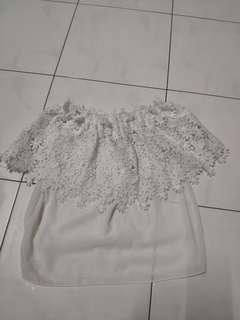 White Laces Off Shoulder Top