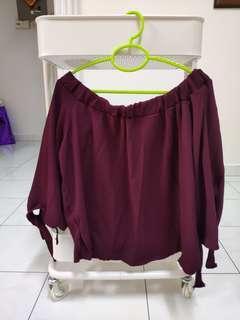 Off shoulder maroon top