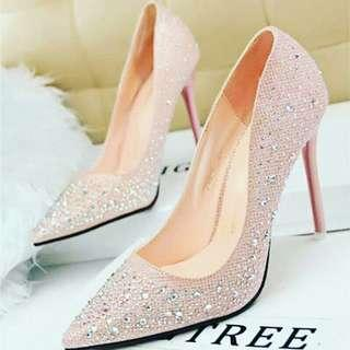 2019 Crystal Heels Round Toe Pumps Shoes
