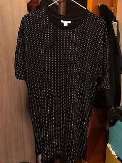 black crystal embellished t-shirt