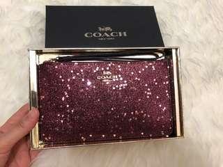 Coach Love Gliter Zip Wristlet with gift box