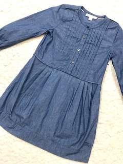 🚚 近全新! Burberry女童胸前精緻打褶側邊拉鍊牛仔面料洋裝(6Y/116cm)