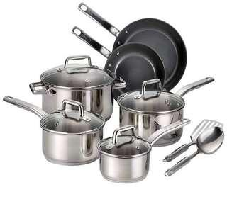 🚚 T-fal Precision Stainless Steel Ceramic Nonstick Cookware Set, Silver Stainless Steel Ceramic 12-Piece Silver