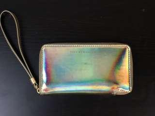 Marc By Marc Jacobs 'Techno - Slim Zippy' Wallet Pale Gold Holographic One Size
