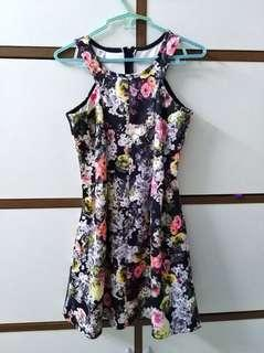 Cut in floral fit and flare dress