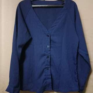 V-neck Blouse (Blue)