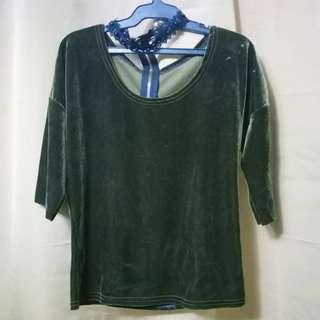Velvet Blouse with Choker (Green)