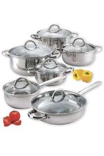 🚚 Cook N Home 12-Piece Stainless Steel Cookware Set