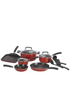 🚚 T-fal Dishwasher Safe Cookware Set Nonstick 12 Piece Red