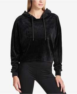 Cropped Black Velvet Hoodie