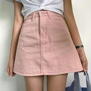 Pink Ulzzang Denim Skirt