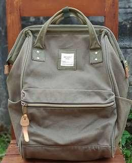 Original Anello Large Thick Canvas Brown Backpack with Olive trims
