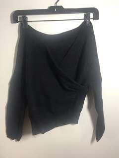 🚚 黑色大v領短版厚針織上衣