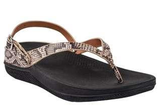 Original Fitflop Flip Leather Sandals Taupe Snake