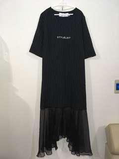 🚚 條紋拼接黑紗擺長裙