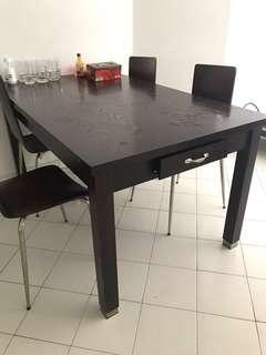 Dark Wood Dining Table Set - with side pull-out drawer