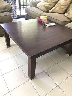 Square Dark Wood Coffee Table with wood grain pattern