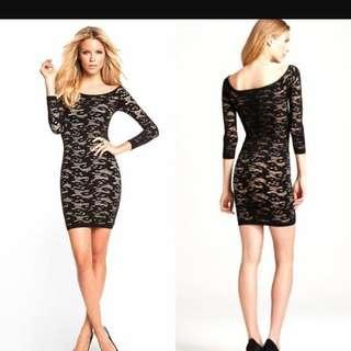 Guess bodycon black lace dress with nude underlay