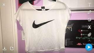 Nike White mesh Top size M