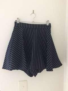 Navy Pinstripe Skirt Skort