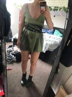 Khaki slip dress