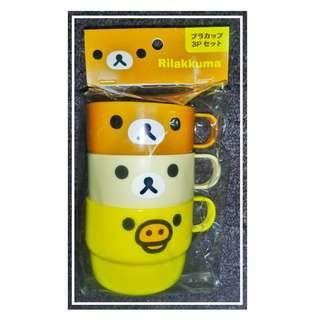 500Yen特價八算! @6x8cm 膠杯組(一包三隻)Rilakkuma(鬆馳熊、鬆弛熊、輕鬆小熊、懶懶熊、リラックマ)