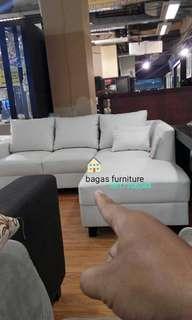 Sofa l kulit warna white