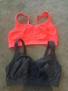 Orange and grey sports bra