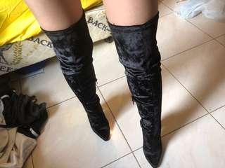 New Verali Velvet Black Long Thigh/Knee High Boots