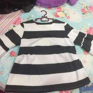 Stripe blouse with bell sleeves