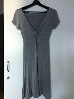 Grey Knotted Cotton Dress
