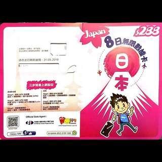 日本8日4G無限上網卡 (Softbank 4G網絡)