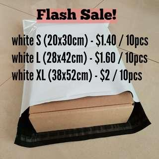 white S L XL polymailers