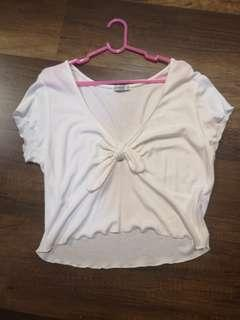 White front tie knotted top
