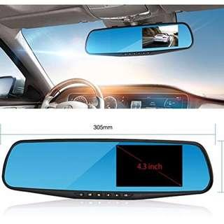 """🚚 OK AUTOEYE Rearview Mirror Dash Cam - Full HD 1080P Dual Channel Front and Back Car DVR with Wide Angle Lens supports Night Vision and 4.3"""" HD Anti-Glare Display - Collision Sensor and Parking Mode (Black Rim)"""
