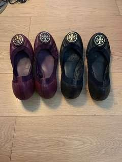 Tory Burch 9.5 flats purple and dark blue